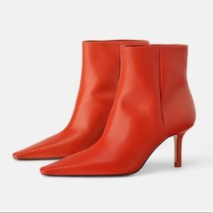 Zara Leather High Heeled Ankle Boots Leather Red